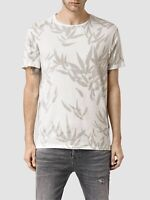 All Saints Easy Fit Bamboo Print T-Shirt Size L Cotton & Rayon Ecru & Gray