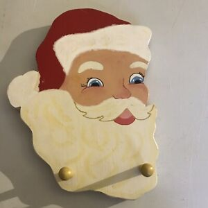 Hand Made Wooden Santa Clause Two Coat Hook or Hat Hook Wall Rack~B18