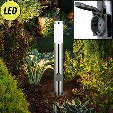 LED Soporte de Lámpara 2x Enchufes Exterior Jardín Parcela Acero Inox. Stand Luz