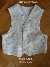 Boys Cream & Gold Pure Silk Waistcoat ( 2yrs ) Acetate lining