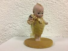 VINTAGE PORCELAIN KEWPIE Original Yellow dress ruban Perfect Rose O'NEILL 1913