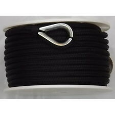 3/8 Inch x 100 Ft Black Double Braid Nylon Anchor Line for Boats
