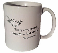 "Cheshire Cat Alice in Wonderland ""Every adventure"" quote 11 oz coffee tea mug"