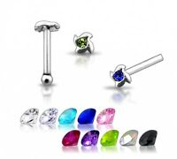 1 22g 6mm Silver Clear CZ GEM Nose Stud Ring Pin N099