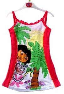 NEW QUALITY DORA GIRL'S COTTON DRESS WITH PRINT OF DORA & SEQUIN AGE  UPWARDS