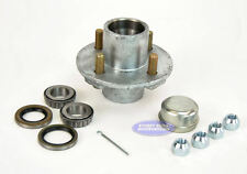 "Boat Trailer GALVANIZED Idler Hub 4 Bolt Lug 1""Bearings(44643) 2,000Lbs Axle Kit"