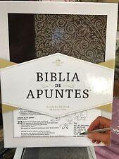 Biblia de Apuntes, reina valera 1960 Negro con Gris, Piel Genuina y Tela