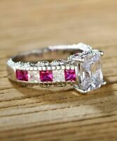 2.50Ct Cushion Cut Pink Sapphire Engagement Ring Solid 14K Rose Gold Finish