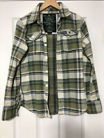 Superdry Green Checked Shirt Long Leeve Size Small S Mens Great Cond (D477)