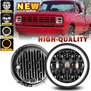 """For Dodge D100 D200 D300 Pickup 1969-1974 7"""" Inch Round  LED Headlights Halo DRL"""