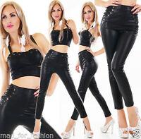 Sexy cintura alta Piel Sintética Pantalones Con Lateral cordones.uk 8.10.12.14