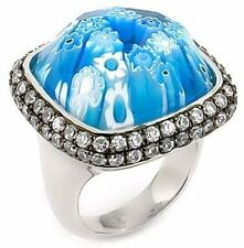 ALAN K. EXQUISITE COLLECTION FACETED BLUE MURANO GLASS SQUARE CZ ST/SILVER RING