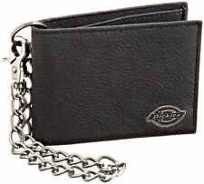 Dickies Mens Slimfold Wallet With Antique Nickel Chain Black 31di1304