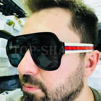 For Men Designer Sunglasses Oversize Square Thick Frame Black Brown Lenses Retro