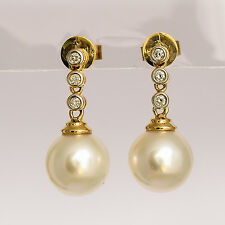 SOUTH SEA PEARL DROP EARRINGS 9.2mm PEARLS GENUINE DIAMONDS REAL 14K GOLD NEW
