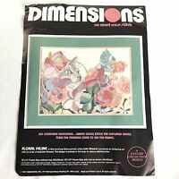 Dimensions No Count Cross Stitch Kit Floral Feline Kit #3627 Open Started