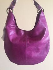NWT Women's Hobo International Gardner Leather Hobo Bag Purse, Pansy Magenta