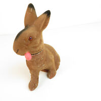 """Antique Paper Mache Easter Bunny Candy Container - VTG 6"""" Rabbit with Carrot"""