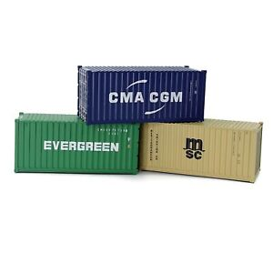 3pcs O Scale 1:48 20ft Shipping Container Cargo Box Wagons Model Trains C4320