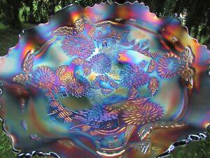 Fenton CHRYSANTHEMUM ANTIQUE CARNIVAL GLASS LARGE RUFFLED BOWL~BLUE~SUPER PRETTY