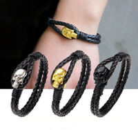 Fashion Men's Leather Skull Clasp Skeleton Wristband Cuff Punk Bracelet Bangle