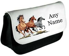 Personalised HORSES/HORSE Pencil Case/Make Up Bag *Choice of text colour*