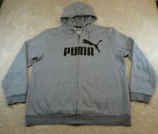 Puma Sweater Adult Extra Large Grey Full Zip Cotton Pockets Hood Sports Mens *