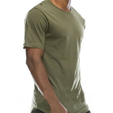 Hip Hop Mens T-shirt Fashion Style Oversized Long Extended Tee Shirt Casual Tops