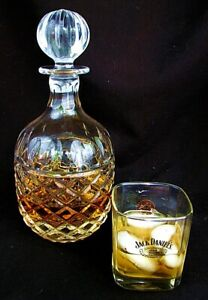 ANTIQUE CRYSTAL WHISKEY DECANTER *CUT CRYSTAL* LG STOPPER c.1920