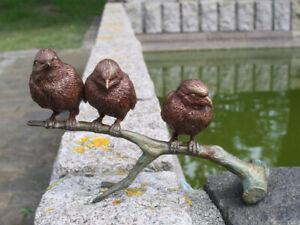 Bronzeskulptur 3 Vögel auf Ast Bronze Statue Figur Dekoration (7102)