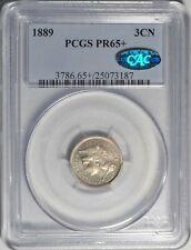 1889 3CN PCGS PR 65+ CAC GEM Plus Proof Three Cent Nickel Type Coin