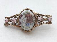 Vintage Floral Enamel Brooch Pin Gold Tone