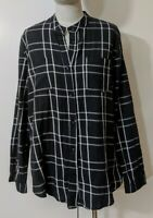 Nana Judy Women's Cotton Button Up Shirt Long Sleeve Black White Check Sz 12