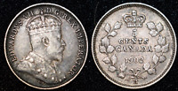 1902 H Five 5 Cents Canada Nickel King Edward VII Silver Coin XF+ Great Detail