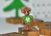 "Miniature Artist Bear 0.9"" Dollhouse Teddy Bear crochet Bear Doll Toy Gift"