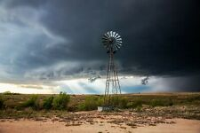 Country Photography Print - Picture of Windmill and Sunbeams in Storm in Texas