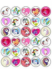 30 PRE-CUT UNICORN HORSE CUP CAKE FAIRY BUN EDIBLE RICE WAFER PAPER TOPPERS
