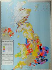 VINTAGE LARGE MAP of BRITAIN AGRICULTURAL LABOUR 1955 WORKERS DENSITY CROPS