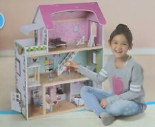 Playtive XXL Wooden Dolls 3 Story House with Lights 28 Piece Set Age 3-8 Years