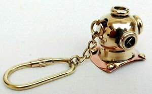 Antique Style Brass Scuba Diver Helmet Nautical Maritime Marine Key chain Ring