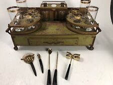Vintage Table Top Liquor Bar Set Decanters Bourbon Scotch Cart Metal Rustic