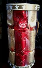 6 Luxury Red Gold Foil Glitter Holly Christmas Crackers Large Adult Fill Favor