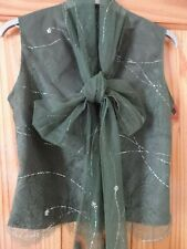 ELSPETH GIBSON OLIVE GREEN LACE TOP WITH TIE COLLAR SIZE 8