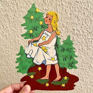 🚬 Märchen-Holzbild ALT 1960er VEB Sterntaler 20cm DDR Kinderzimmer Deko Mädchen