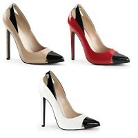 """PLEASER 5"""" STILETTO HIGH HEEL SEXY 22 TWO COLOUR COURT PATENT SHOES SIZES 3-11"""