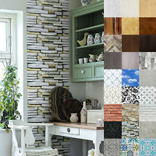 Klebefolie Möbel Tür Küche 7?m² Selbstklebende Folie Tapete Stein Holz Optik DIY
