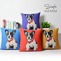 4 Colors Classic French Bulldog Linen Pillow Case Decorative Cushion Cover Gift