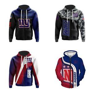 New York Giants Hoodie Zip Up Sweatshirt Casual Hooded Jacket Fans Sportwear