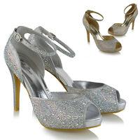 Womens Strappy Platform Peep Toe Bridal Court Shoes Ladies Diamante Party Heels