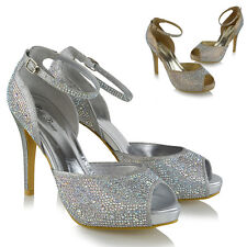 Womens Bridal Peep Toe Platform Ankle Strap HeelsLadies Diamante Court Shoes 3-8